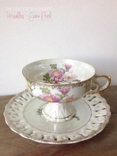 Tea Cup and Saucer  Versailles Green Pearl by SwaentsjeTeaParty, €25.00