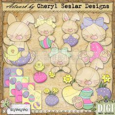 Little Easter Bunnies 1 - Cheryl Seslar Country Clip Art