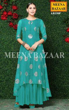 Firozi Asymmetrical Kurti @ MeenaBazaar Stylish Dresses For Girls, Stylish Dress Designs, Elegant Dresses, Velvet Dress Designs, Dress Neck Designs, Pakistani Dresses, Indian Dresses, Assymetrical Dress, Designer Party Wear Dresses