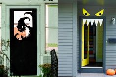 halloween door decorations Here are some Halloween door decorations which will literally throw you off of your hinges! All you need is a door, and some ideas. Oh wait, weve g Halloween Door Decorations, Halloween Porch, Outdoor Pallet Bar, Pallet Benches, Pallet Couch, Pallet Tables, 1001 Pallets, Recycled Pallets, Outdoor Fire