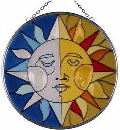 """7"""" Round Sun Moon Hand Painted Art Glass Suncatcher Keega..."""