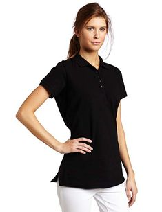 e71f232a Dickies Women's Pique Polo Shirt, Black, Small: Dickies misses classic fit  solid short sleeve pique polo with moisture wicking longer length for  coverage ...