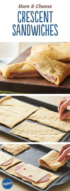 Ham and Cheese Crescent Sandwiches - You only need three ingredients to create these easy sandwiches. Serve with soup or a salad for a complete meal! meals for lunch Ham and Cheese Crescent Sandwiches Lunch Recipes, Cooking Recipes, Ham Recipes, Easy Sandwich Recipes, Recipes With Sliced Ham, Dinner Recipes, Easy Cooking, Healthy Cooking, Recipies