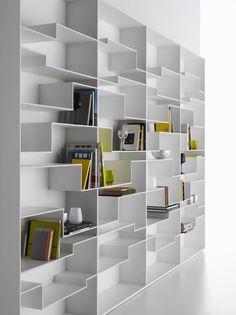 MDF Italia – Melody Bookcase by Neuland – Home Trends 2020 Home Library Design, Home Office Design, Home Design, Home Interior Design, Interior Decorating, Unique Bookshelves, Bookshelf Design, Küchen Design, Design Ideas