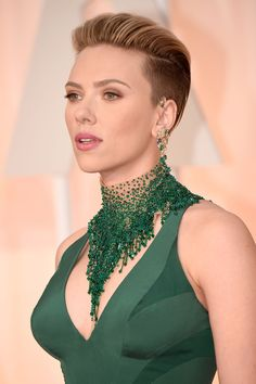 """Scarlett JohanssonWe did a massive double take when Scarlett Johansson made her way across our TV screen. Was that…? Did she…? After some careful rewinding and scrunching our faces close to the screen, we were delighted to see she had accentuated her swept back pompadour with shaved sides. No faux undercut for our girl ScarJo. She took the """"go big or go home"""" approach, and we dig it."""