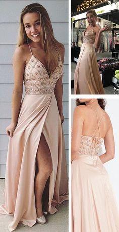Straps V Neck Beads Long Prom Dress with Side Slit