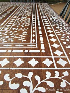 -Indian Inlay Stencil Over Wood Awesome tutorial and this is gorgeous!