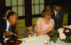 May 9 1986  Charles & Diana attend  a 12 course Foreign Ministry Banquet at the Tsuruya Restaurant in Osaka