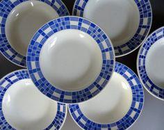 Ensemble de 6 Badonviller « Aurore » assiettes à soupe, Français vintage plats en céramique bleu et blanc