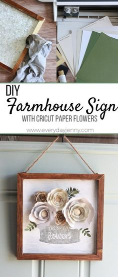 Tutorial for making this cute farmhouse style, Fixer Upper inspired sign, with paper flowers and stencil with your Cricut. This pin was made in partnership with JOANN. #handmadewithjoann #Cricut #Cricutmade