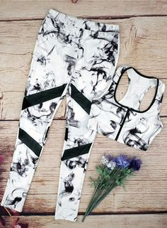 Women's Skinny Printed Bra Leggings Two Piece Sports Set