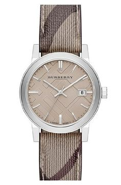 Burberry Smoke Check Strap Watch, 34mm BU9118 Women * Check out this great product.