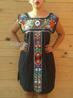 Mexican Embroidered Mexican dress Sleeveless/Bohemian dress