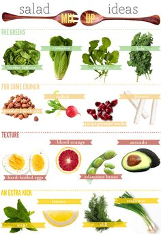 Here is a visual #guide to help you mix things up and keeps you #salads interesting - #infographic - http://www.finedininglovers.com/blog/food-drinks/quick-fix-salad-ideas-infographic/