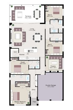 (no title) – Dream House Bungalow Floor Plans, Home Design Floor Plans, House Floor Plans, Dream House Drawing, House Plans Australia, Southern House Plans, Floor Layout, Storey Homes, House Blueprints