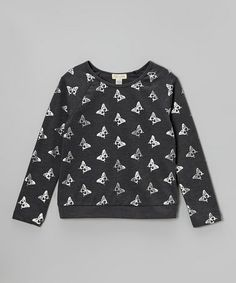 Take a look at this Charcoal Butterfly Foil Sweatshirt by L.A. Movers on #zulily today!
