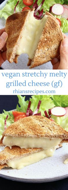 Stretchy Melty Vegan Grilled Cheese with a magical ingredient! Completely natural, nut-free, oil-free, gluten-free.