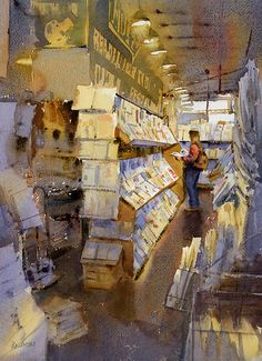 """Read All About It by Mike Kowalski 18x12"""" Watercolor"""
