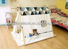 los niños 100% del triángulo de tela de algodón tiendas de campaña tipi indio cama