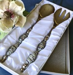 Looking for a perfect gift for either the holidays or a special bride? This lovely, never used serving set with Murano glass handles could be the