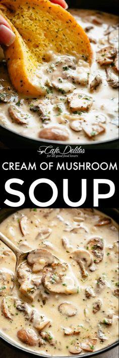 Cream of Mushroom Soup – Cafe Delites Dinner Soup – Dinner Recipes Creamy Mushroom Soup, Mushroom Soup Recipes, Easy Soup Recipes, Vegetarian Recipes, Dinner Recipes, Cooking Recipes, Healthy Recipes, Recipe Cream Of Mushroom Soup, Best Mushroom Soup