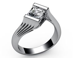 Bar-setting Asscher cut Diamond Solitaire Engagement ring in 18K White gold (1.00 ct.)