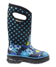 This Teal & Black Flower Dots Classic Boot by Bogs is perfect! #zulilyfinds