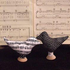 Pin Cushion Primitive Music Fabric Bird Pin Pokes by Skunkhollow
