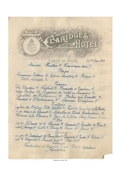 Claridge's, London, December 1898 Vintage Menu Art