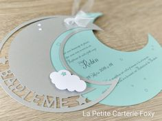 Announcement of birth or baptism, invitations in the moon, clouds and stars . Diy Invitations, Invitation Cards, Birthday Invitations, Birthday Cards, Invites, Baby Crafts, Diy And Crafts, Christening Invitations, Blog Love