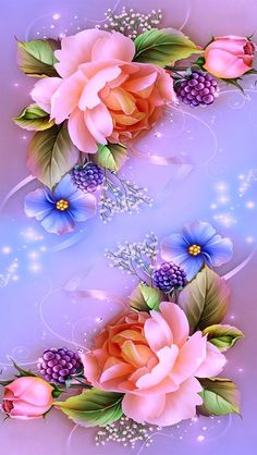 Roses on Lavender Background
