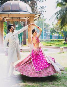 20 lehenga twirl moments that will unleash your inner princess bride! Bollywood Lehenga, Pink Lehenga, Bridal Lehenga, Indian Wedding Gowns, Wedding Dresses, Punjabi Wedding, Bridal Looks, Bridal Style, Matching Couple Outfits