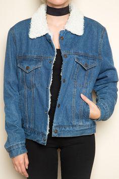 Brandy ♥ Melville |  Anri Fur Denim Jacket - Outerwear - Clothing