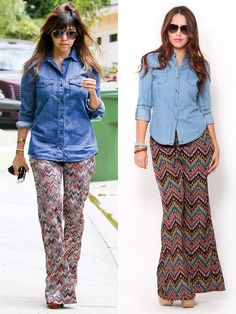 Pair a chambray shirt with printed palazzo pants!Would you wear this #outfit? #kourtneykardashian