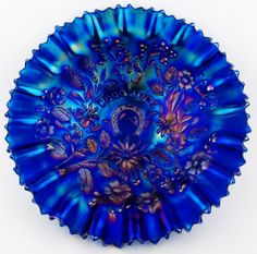 """Electric Blue Carnival Glass 9"""" Pie Crust Edge Bowl with Ribbed Exterior.  Sizzling Iridescence"""