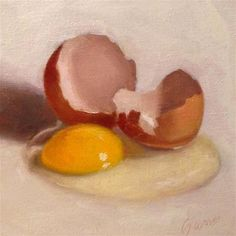 """Daily Paintworks - """"Cracked Egg"""" by Michelle Garro"""