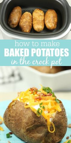 Crockpot Baked Potatoes Try Crock pot baked potatoes for a simple meal. Baked potatoes in crock pot without foil can be thrown together quickly. Make baked potatoes in crock pot. Crock Pot Baked Potatoes, Cooking Baked Potatoes, Baked Potato Recipes, How To Cook Potatoes, Cheesy Potatoes, Baked Potatoes In Crockpot, Pressure Cooker Baked Potatoes, Mashed Potatoes, Crock Pot Slow Cooker
