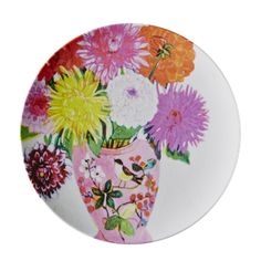 RICE Melamine Side Plate with Andrea Dahlia Print