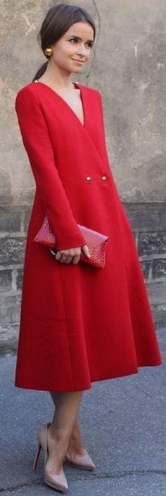#cute #dress #spring #street #style #outfitideas | Miroslova Duma Red Midi Dress |Hemingway & Hepburn