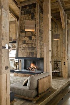 Love this rustic, cabin living room with open fireplace Cabin Homes, Log Homes, Rustic Fireplaces, Fireplace Design, Open Fireplace, Fireplace Modern, Electric Fireplace, Floating Fireplace, Metal Fireplace