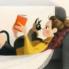 Illustration by Genevieve Godbout-. Crazy Cat Lady, Crazy Cats, I Love Cats, Cute Cats, Art Mignon, Reading Art, Cat Drawing, Cat Art, Cats And Kittens