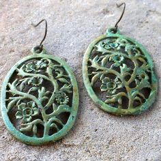 FUN fund  green patina ornate oval vine earrings by lluviadesigns, $12.00