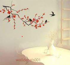 Cherry Blossom with birds-Vinyl Wall Decal, Sticker for Nursey Room Kids Wall Murals, Tree Wall Murals, Murals For Kids, Tree Decals, Nursery Wall Stickers, Wall Stickers Home Decor, Wall Decal Sticker, Wall Decor, Wall Art
