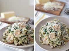Shrimp & Veggie Fettuccine with gluten free Cauliflower Alfredo