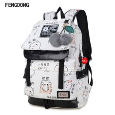 Aelicy Fashion Printing Backpack USB Bag for Laptop Women Travel Bags Canvas School Backpack for Teenager School Bags Mochila Cute Backpacks For School, Cute School Bags, Stylish Backpacks, School Bags For Girls, Girl Backpacks, Girls Bags, Canvas Backpacks, College Backpacks, Cheap Backpacks
