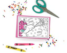 Unicorn Party! Super cute printable coloring cards and coloring pages! Just download, print at home, and color! - The spaces are large enough to be colored confidently but adults *and* kids. Click through for more designs - your purchase helps support an independent female artist! | DIY adult coloring.