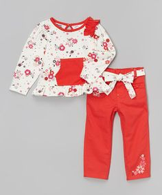 Look what I found on #zulily! White & Red Floral Top & Pants - Infant, Toddler & Girls by Peanut Buttons #zulilyfinds