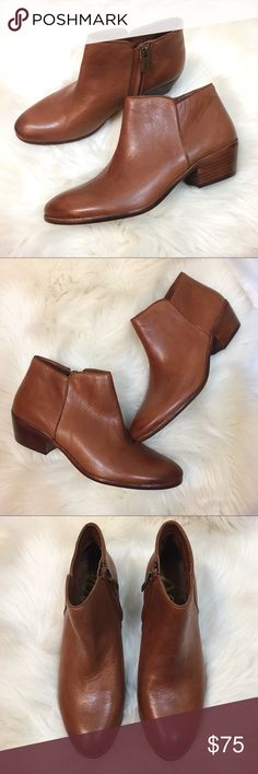 """Sam Edelman petty ankle boots brown saddle leather The perfect booties for fall! These Sam Edelman petty brown leather boots are in great condition and were only worn twice! • Leather upper • synthetic sole • side zip closure • 1 3/4"""" stacked heel • 3 1/4"""" boot shaft • size 9.5 Sam Edelman Shoes Ankle Boots & Booties"""