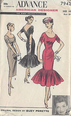 1950s-Vintage-Sewing-Pattern-B28-DRESS-R852-By-Suzy-Perette