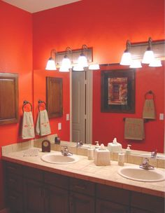 My possible Bathroom colour, Just for you Bre ! Modern Bathrooms Interior, Bathroom Red, Kitchens And Bedrooms, Bathroom Interior Design Modern, Bathroom Wall Colors, Interior Design Luxury Modern, Painting Bathroom, Bathroom Decor, Bathroom Design Tool